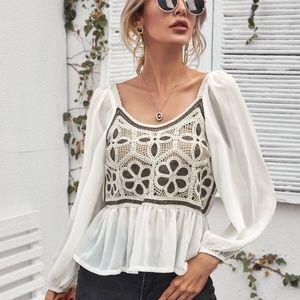 boho crochet floral sheer lantern sleeve blouse